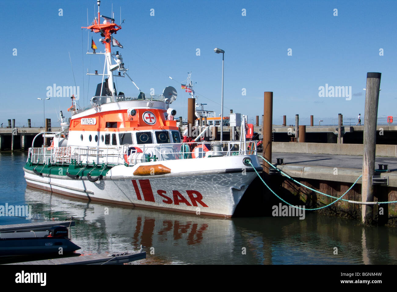 SAR ship at a pier on the island of sylt in northern germany - Stock Image