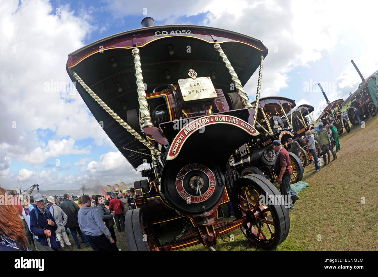 Fish eye view of a Showmans steam engine at the Great Dorset Steam Fair - Stock Image