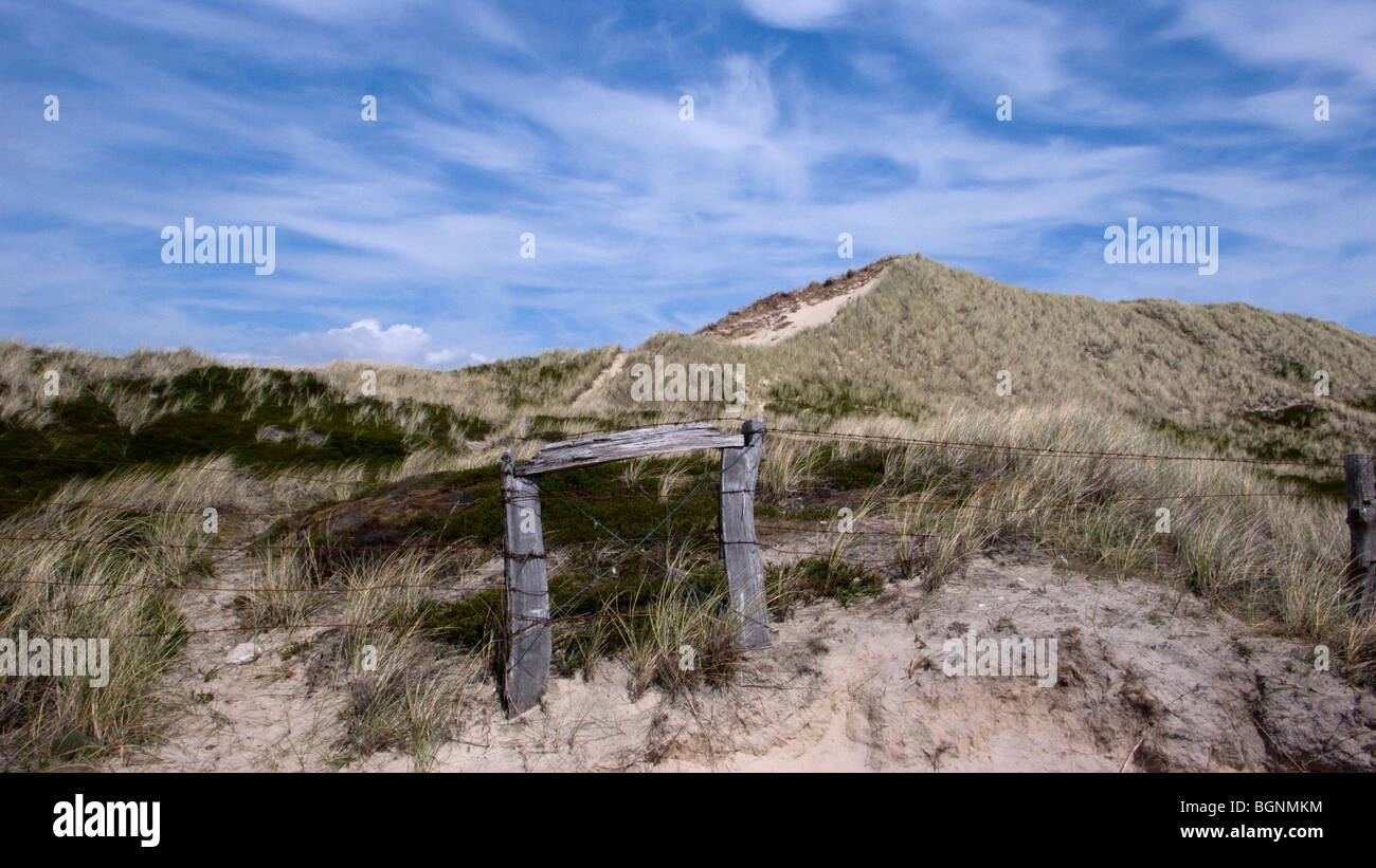 pasture fence between dunes on the island of sylt in northern Germany - Stock Image