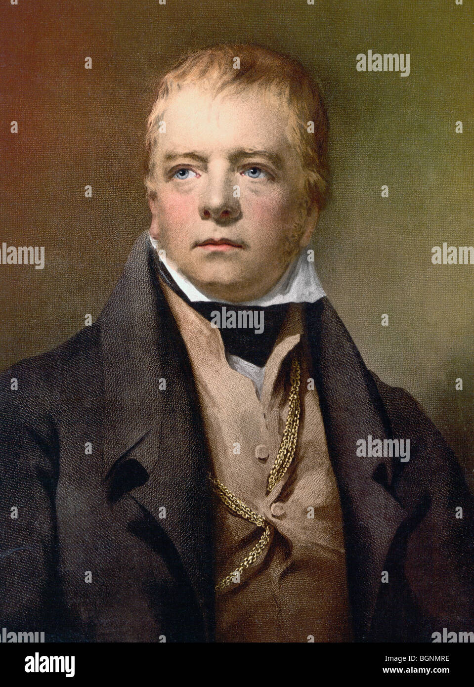 Sir Walter Scott 1771 to 1832. Scottish novelist, poet, historian and biographer. - Stock Image