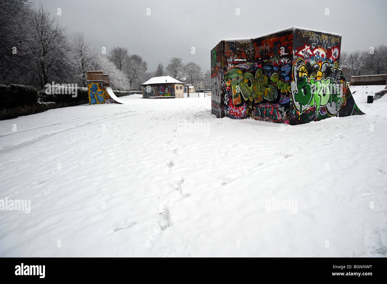 Snow covers the skate park at the Level in Brighton - Stock Image