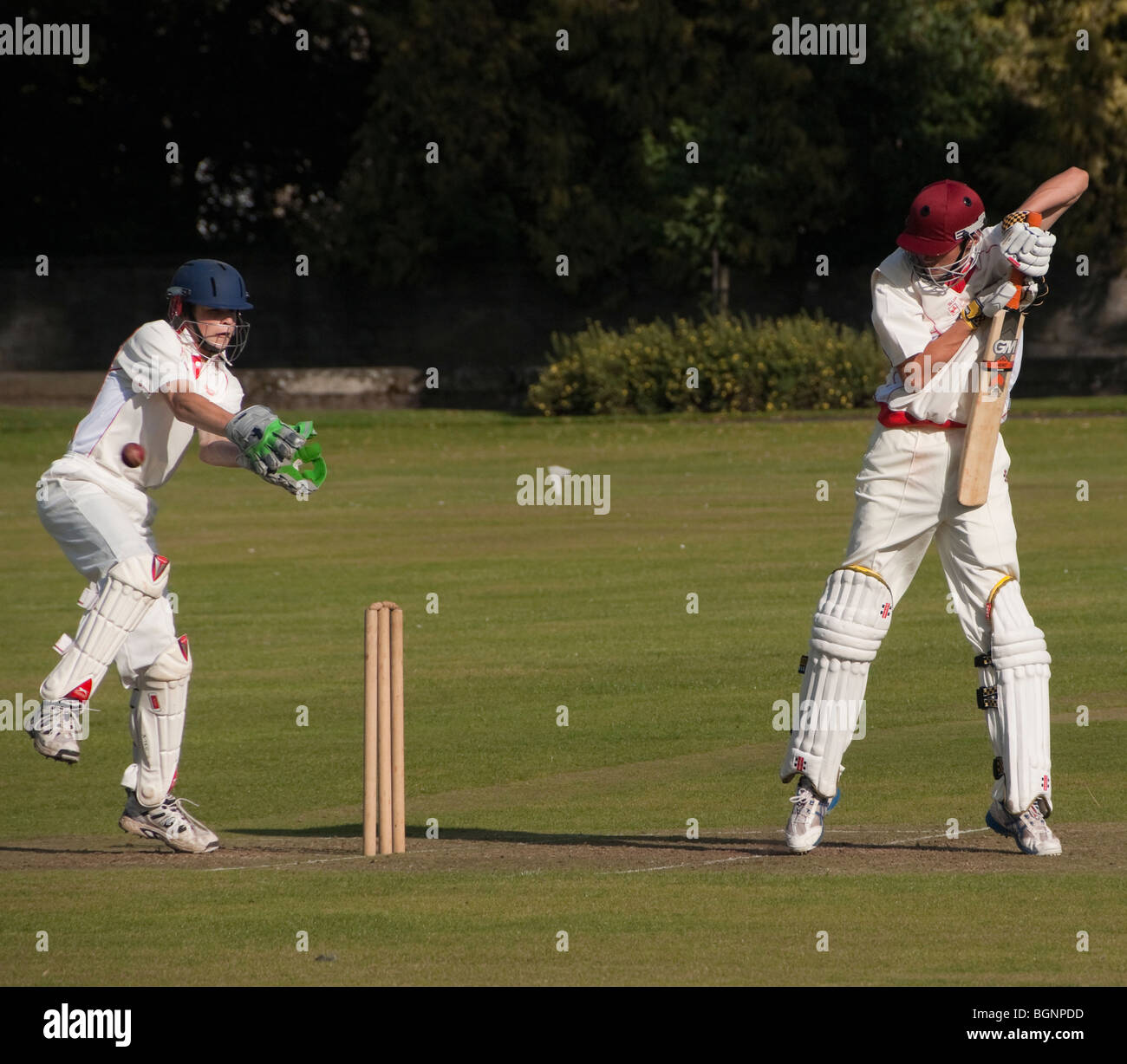 An Under-15s Scottish cricket match in Kelso, Scottish Borders, held in a public park Stock Photo