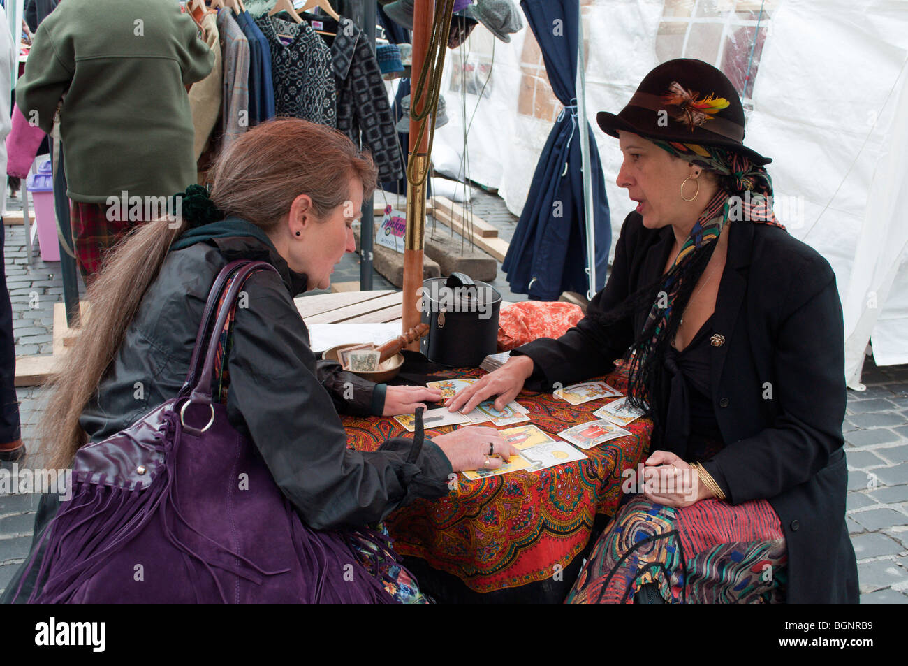St James's Fair Kelso Scotland - a tarot card fortune reading - Stock Image