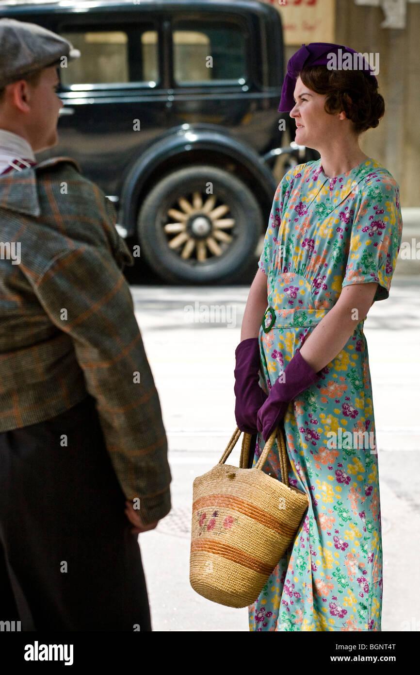 Actors on the movie set, Toronto, 'Kit Kittredge: An American Girl' - Stock Image