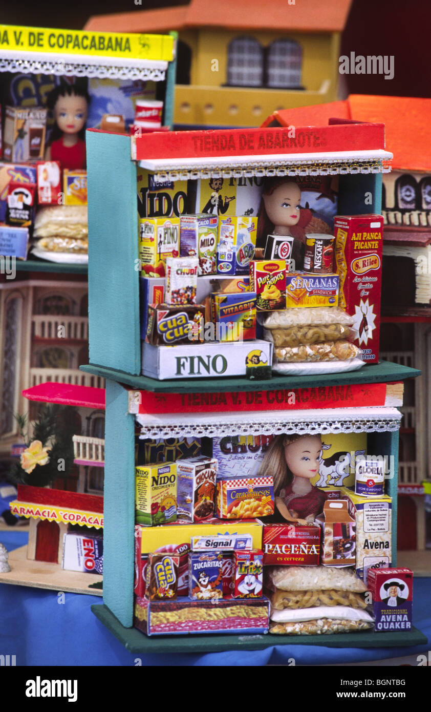 Miniature objects bought for fortune. Copacabana, Bolivia. - Stock Image