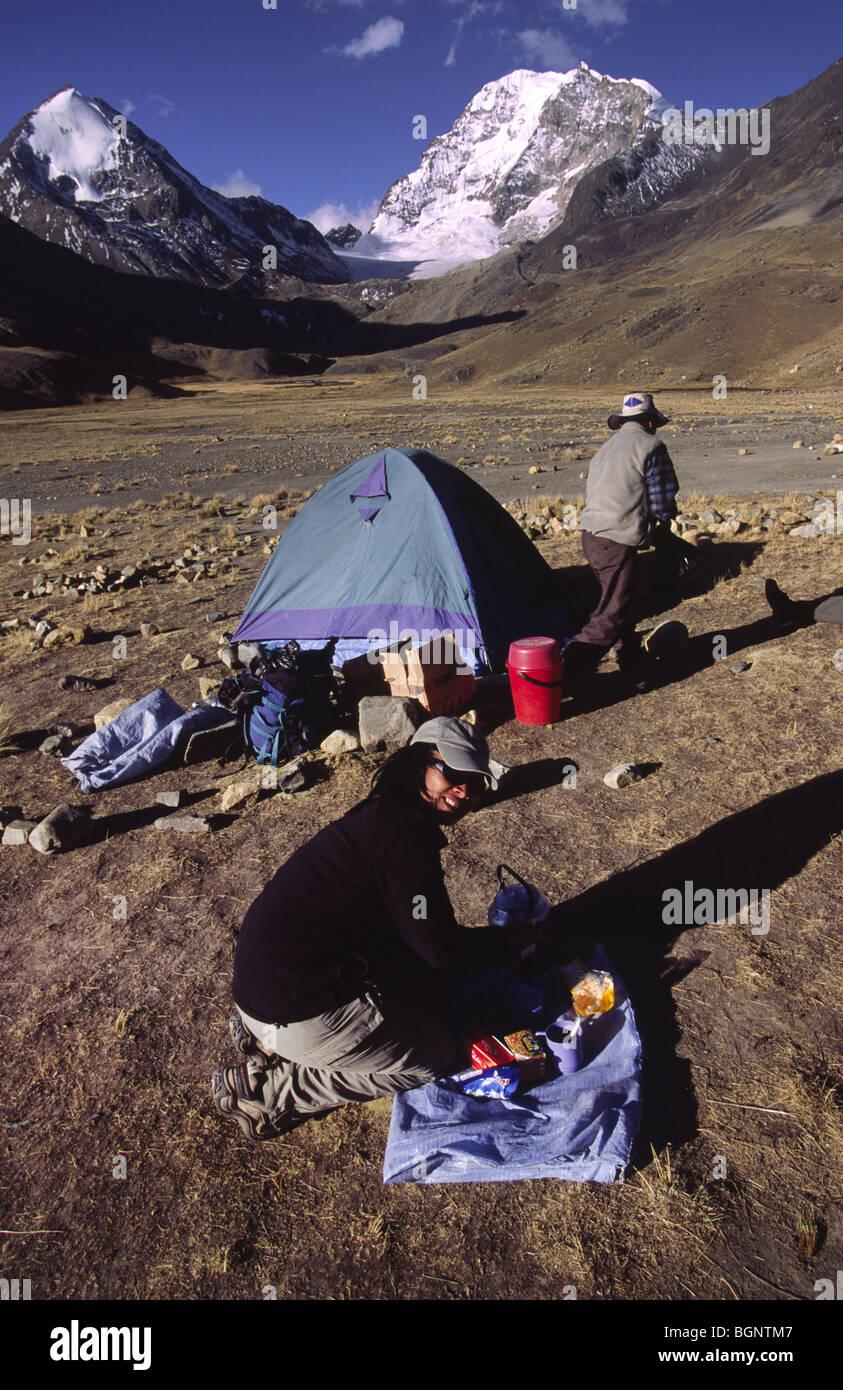 Trekking Camp below Huayna Potosi (6088 m). Cordillera real, Bolivia. - Stock Image