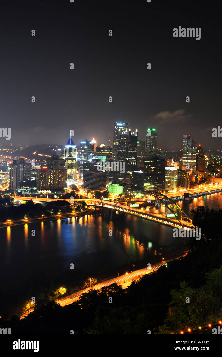 Pittsburgh skyline at night in vertical format Stock Photo
