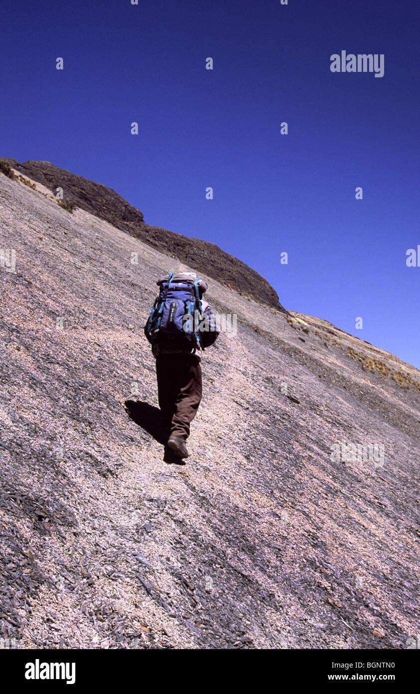 Trekking. Cordillera real, Bolivia. - Stock Image