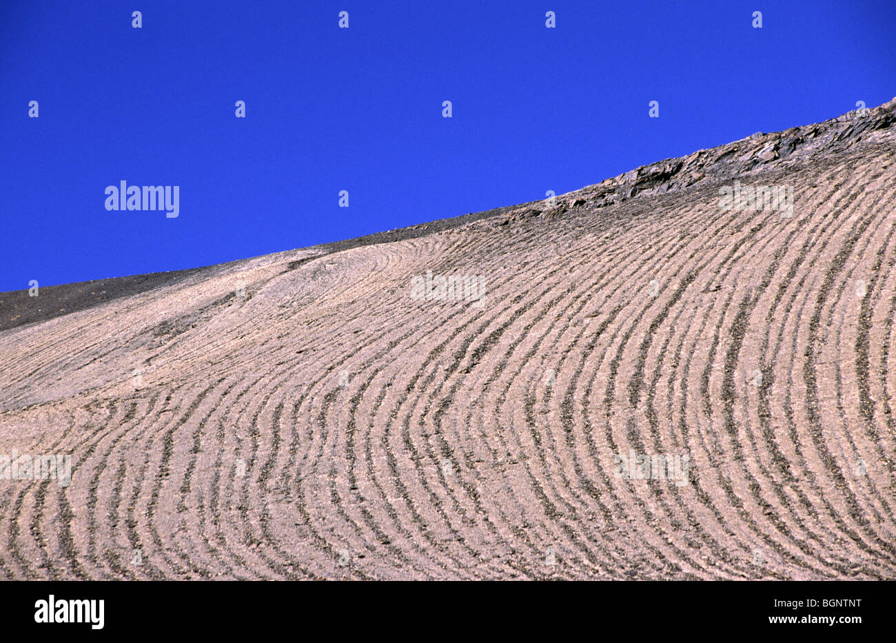 Abstract patterns on mountain side. Cordillera real, Bolivia. - Stock Image