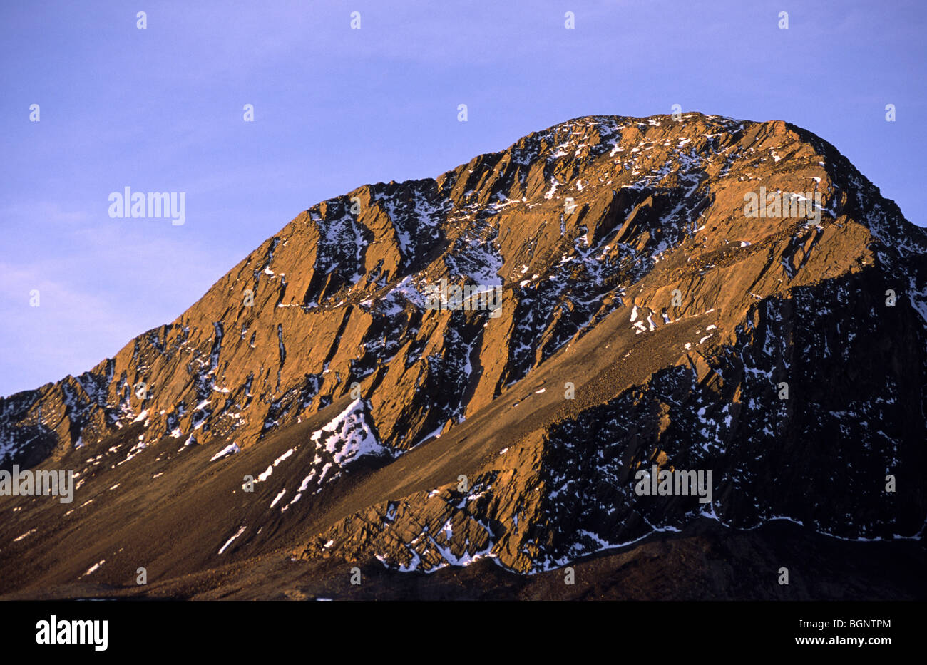 Afternoon light on mountain side. Cordillera real, Bolivia. Stock Photo
