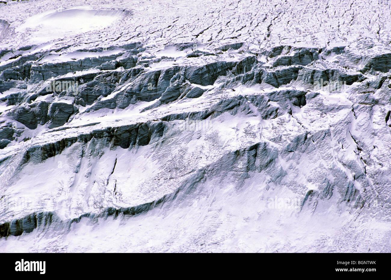 Glacier below Condoriri. Cordillera Real, Bolivia. - Stock Image
