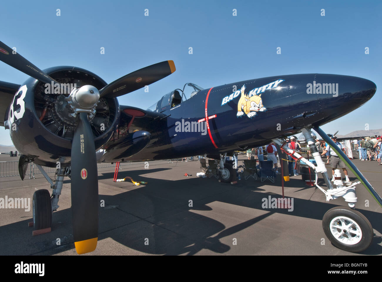 Nevada Reno Air Races F7F Tiger Cat race airplane - Stock Image