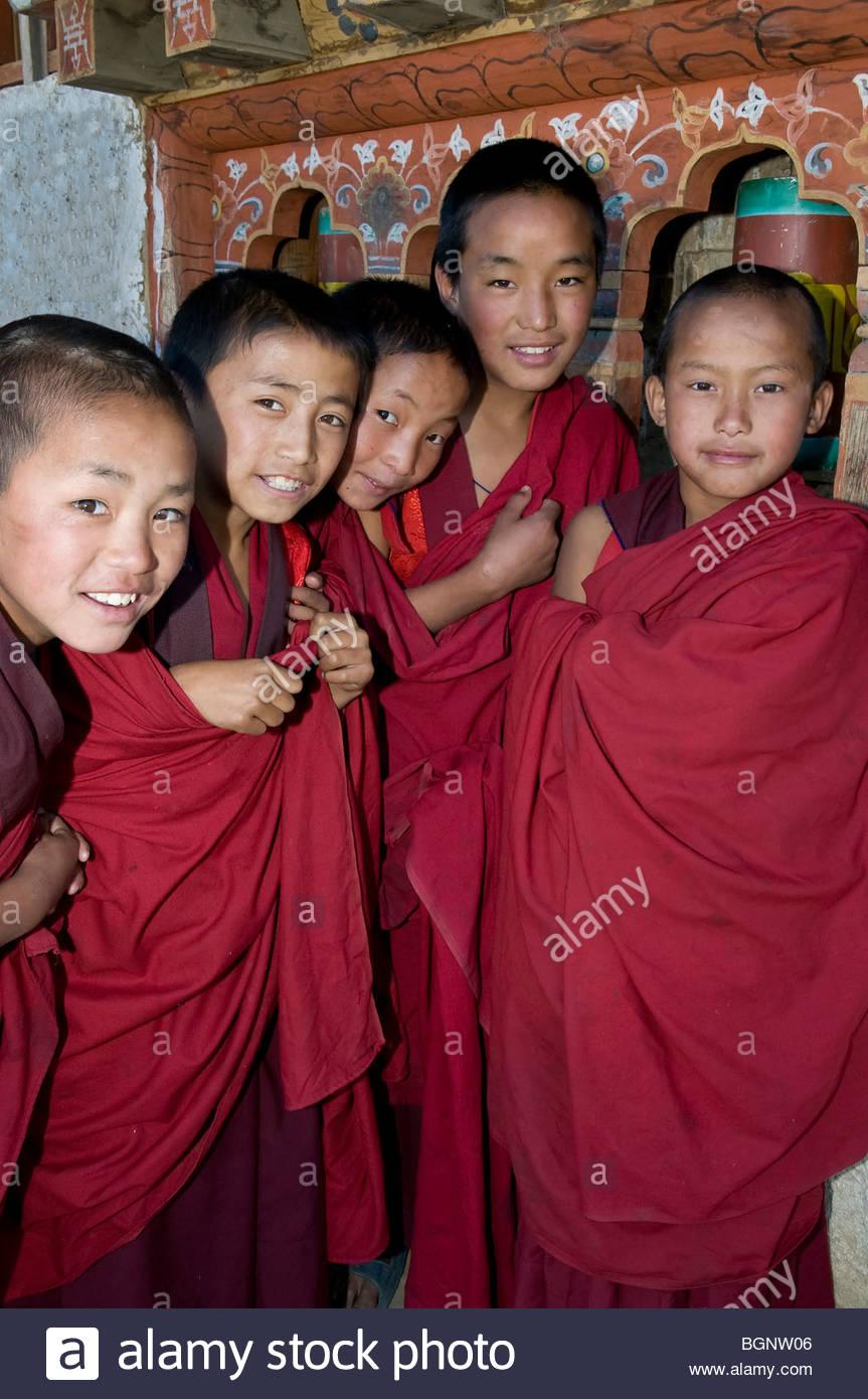 Young Monks at a Monastery Near Paro, Bhutan - Stock Image