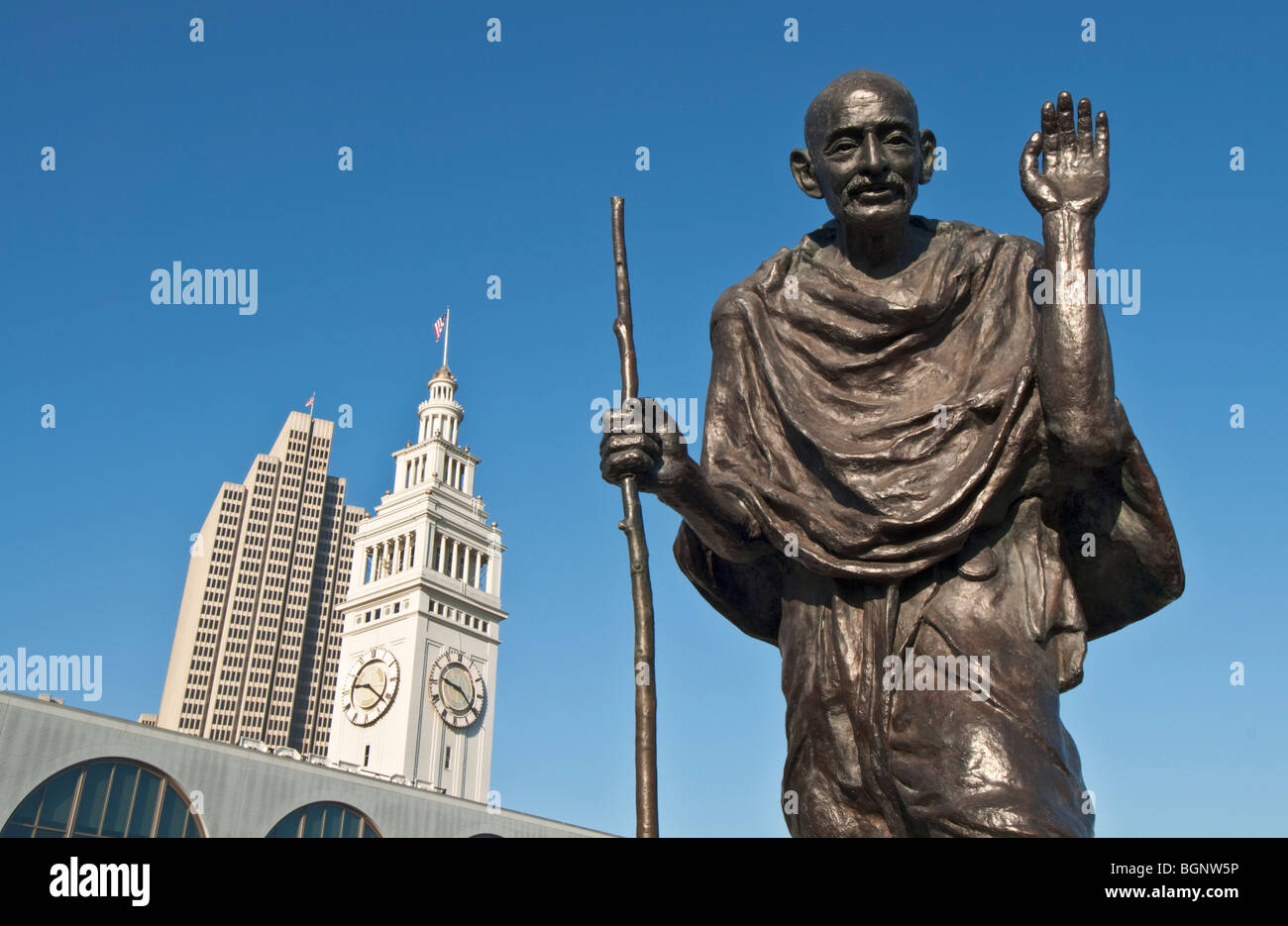 California San Francisco Ferry Building Clock Tower Ferry Plaza statue of Mohandas Karamchand Gandhi - Stock Image