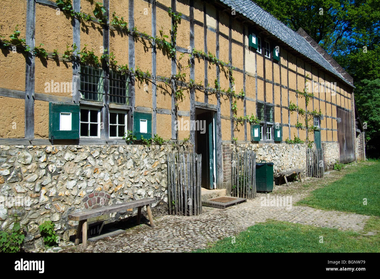 Traditional farmhouse at the open air museum Bokrijk, Belgium - Stock Image