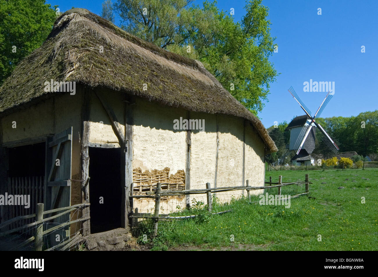 The Standerd windmill and sheep fold at the open air museum Bokrijk, Belgium - Stock Image