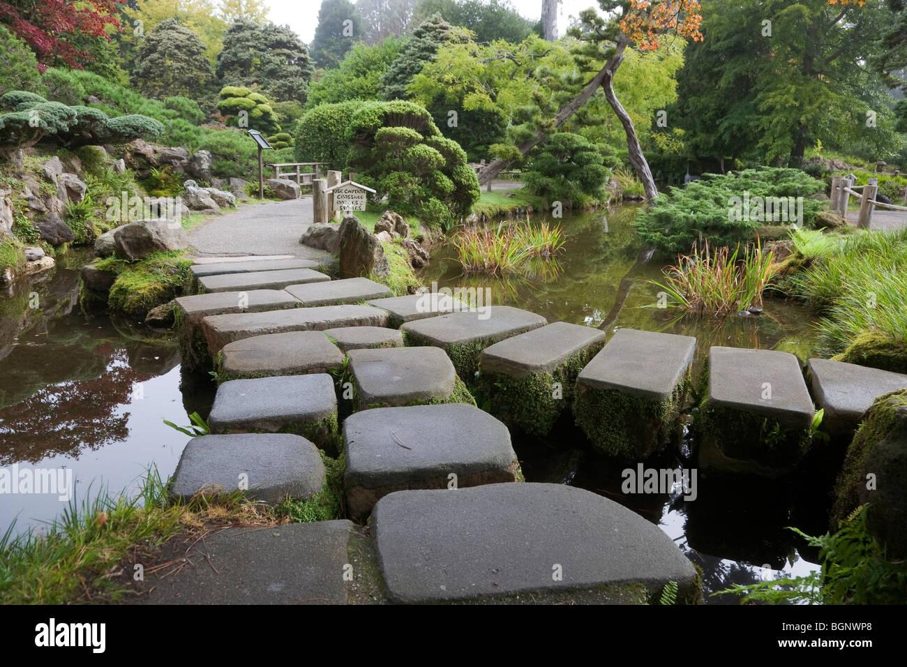 Stone Bridge Japanese Tea Garden Golden Gate Park San Francisco In California USA