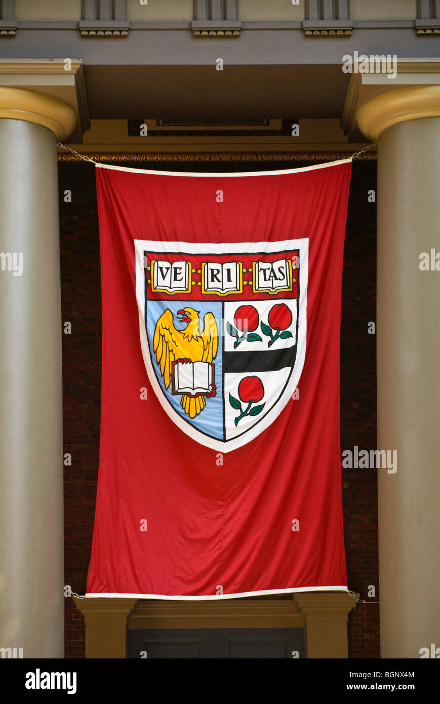 VERITAS SHIELD of HARVARD UNIVERSITY - CAMBRIDGE, MASSACHUSETTS - Stock Image
