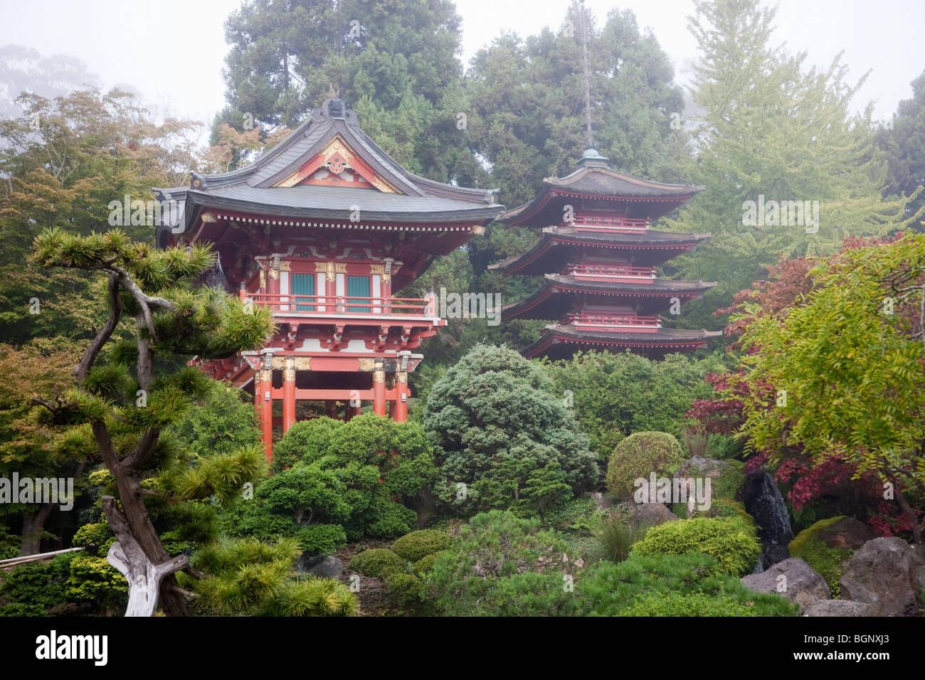 Temple Gate And Pagoda Japanese Tea Garden Golden Gate Park