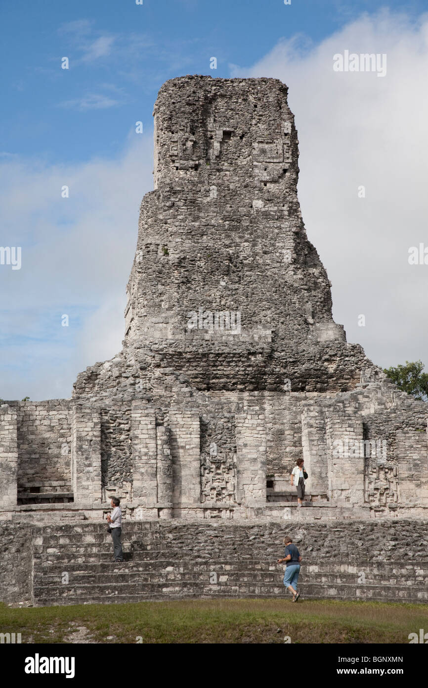 Structure I. Xpujil Maya Ruins archaeology site, Campeche Mexico. - Stock Image
