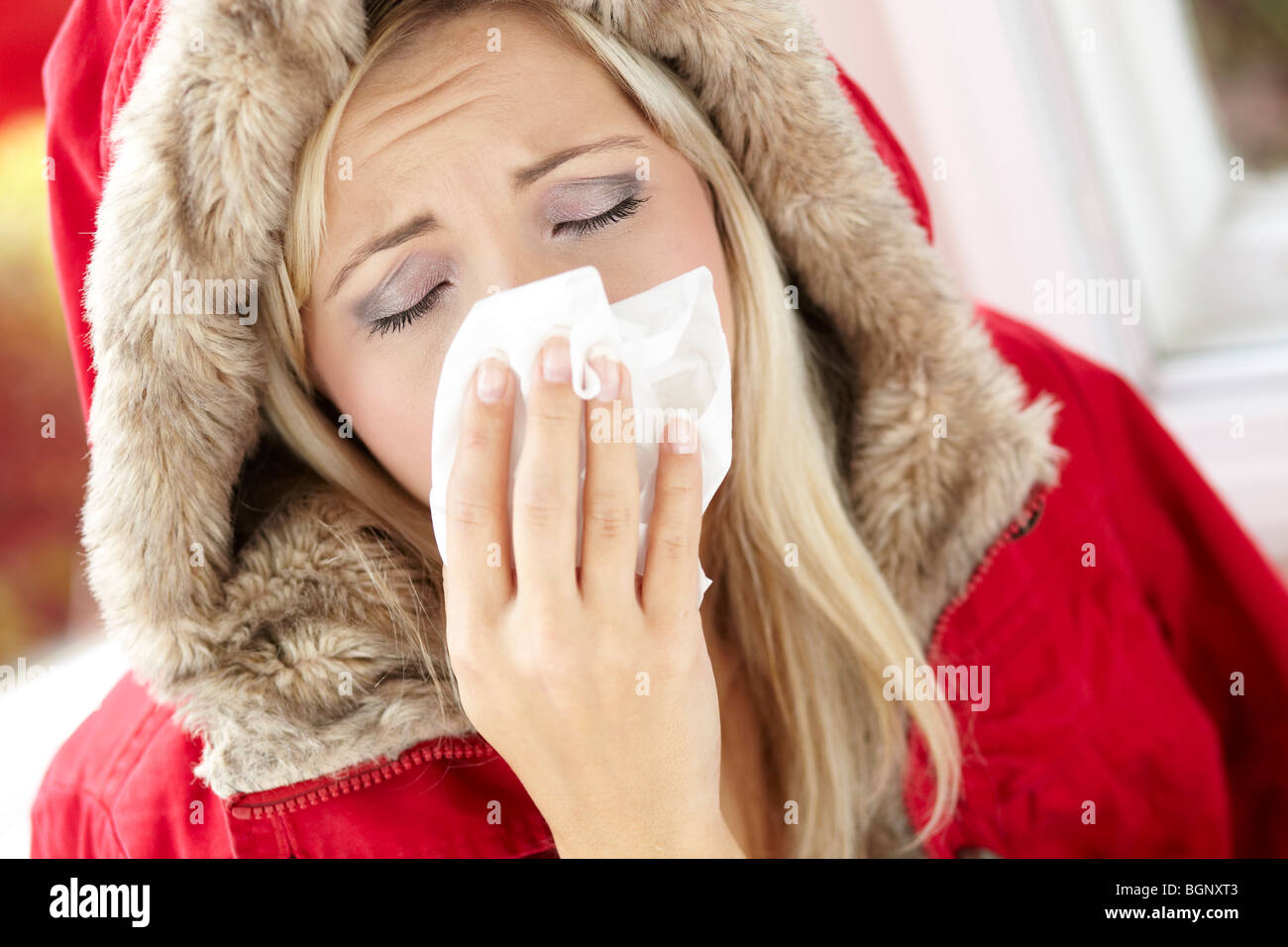 Girl with cold - Stock Image