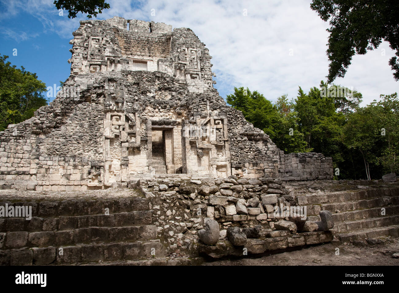 Structure XX. Chicanná Maya Ruins archaeology site, Campeche Mexico. - Stock Image