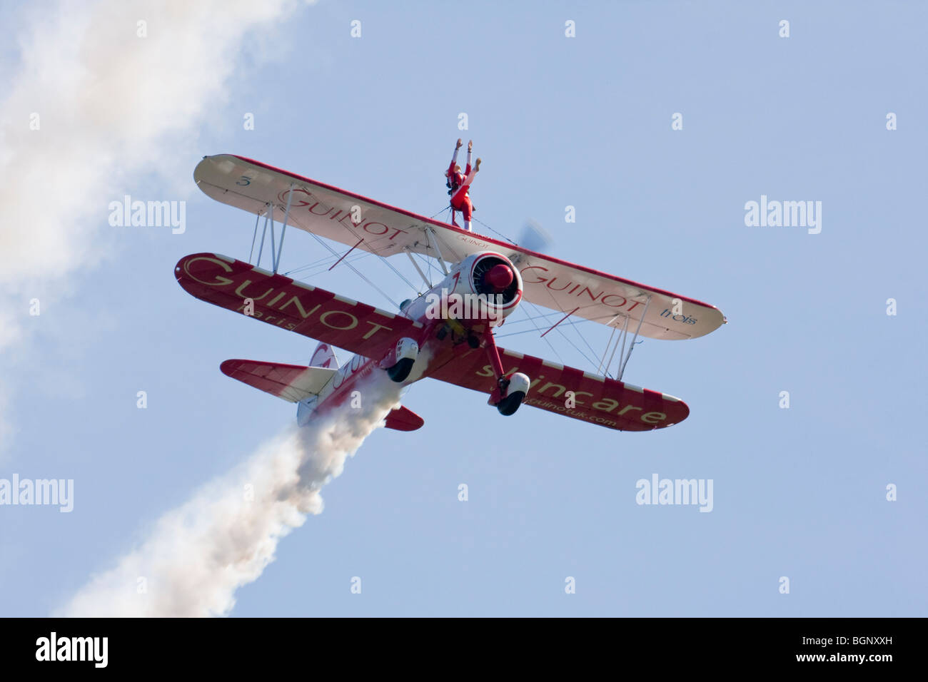 Team Guinot formation wingwalking at RAF Leuchars Airshow 2009, Fife, Scotland - Stock Image