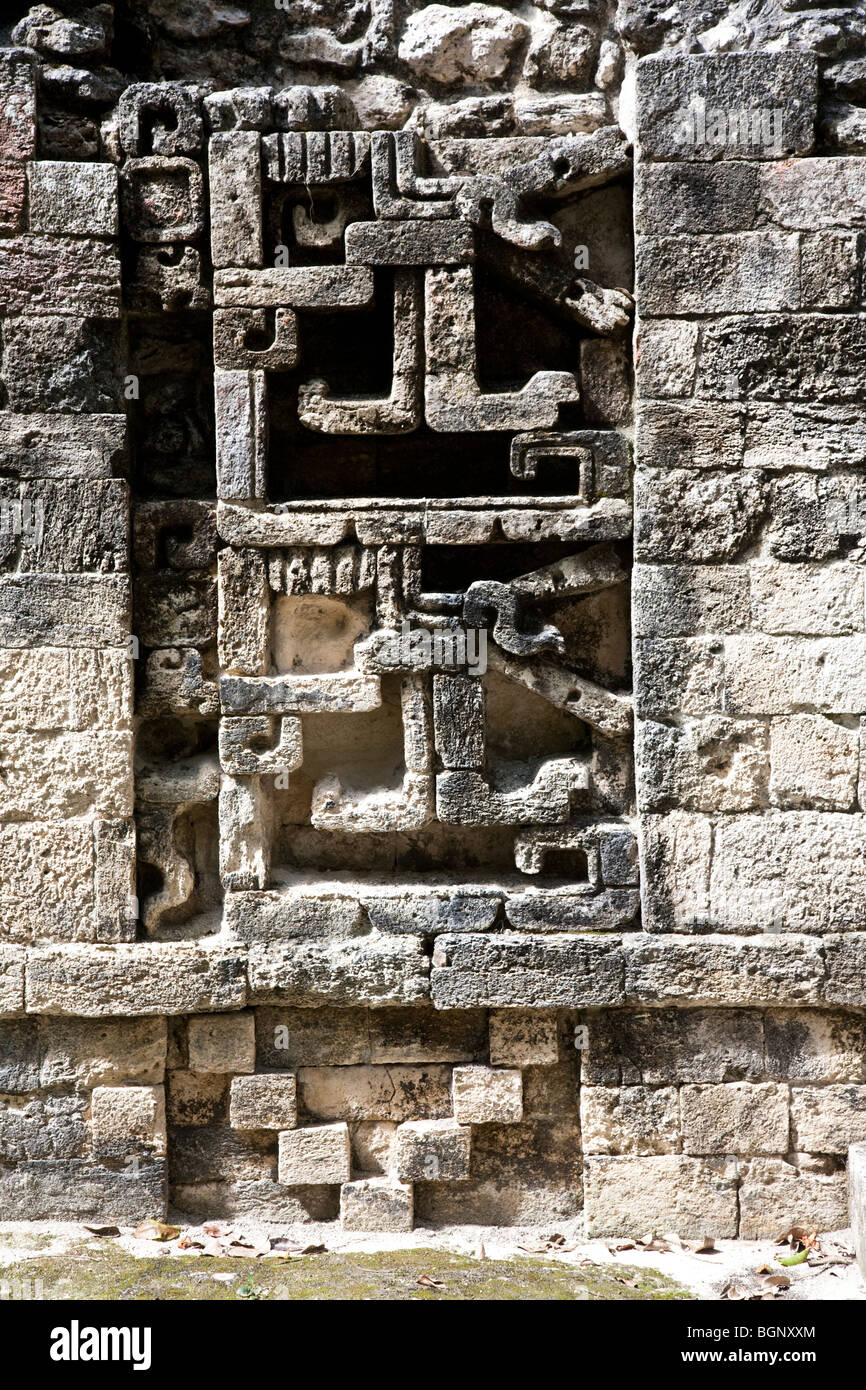 Structure XI. Chicanná Maya Ruins archaeology site, Campeche Mexico. - Stock Image