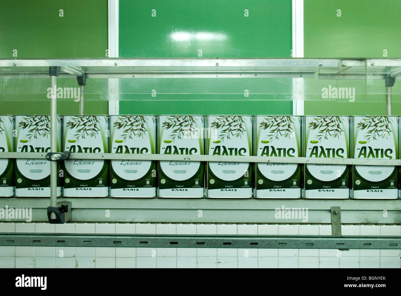 the production line of Elais olive oil processing plant - Stock Image