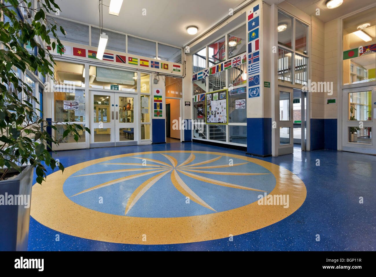 Floor detail at Stepney Green Tower School in London - Stock Image