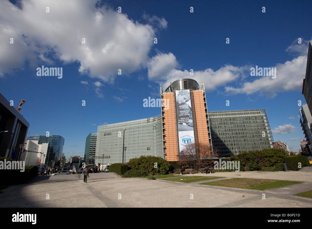 View of the Berlaymont building, the European Commission headquarters in Brussels, taken from the Schuman roundabout. - Stock Image
