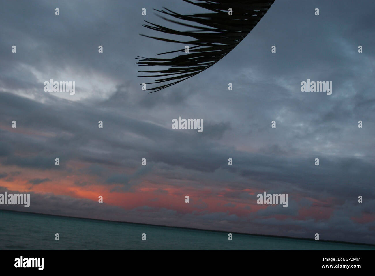 Dusk on the beach on the island of Kiribati in the Pacific Ocean - Stock Image