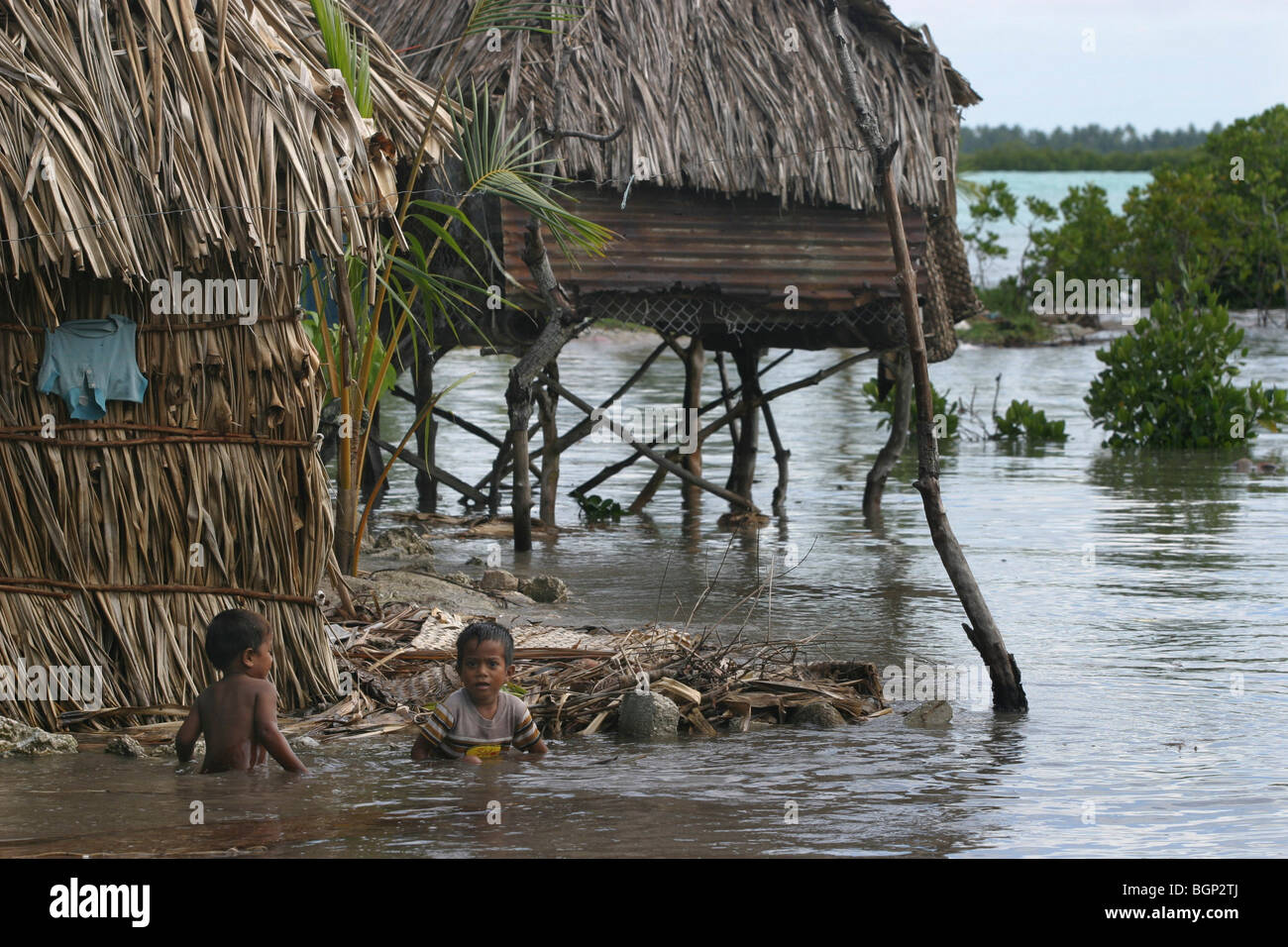 The islands of Kiribati atoll in the Pacific Ocean. - Stock Image
