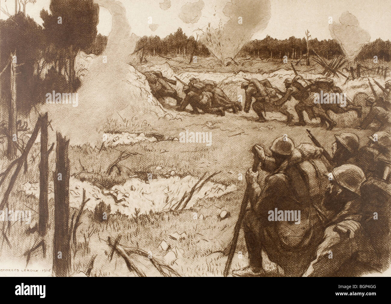 French troops moving forward under artillery fire. - Stock Image