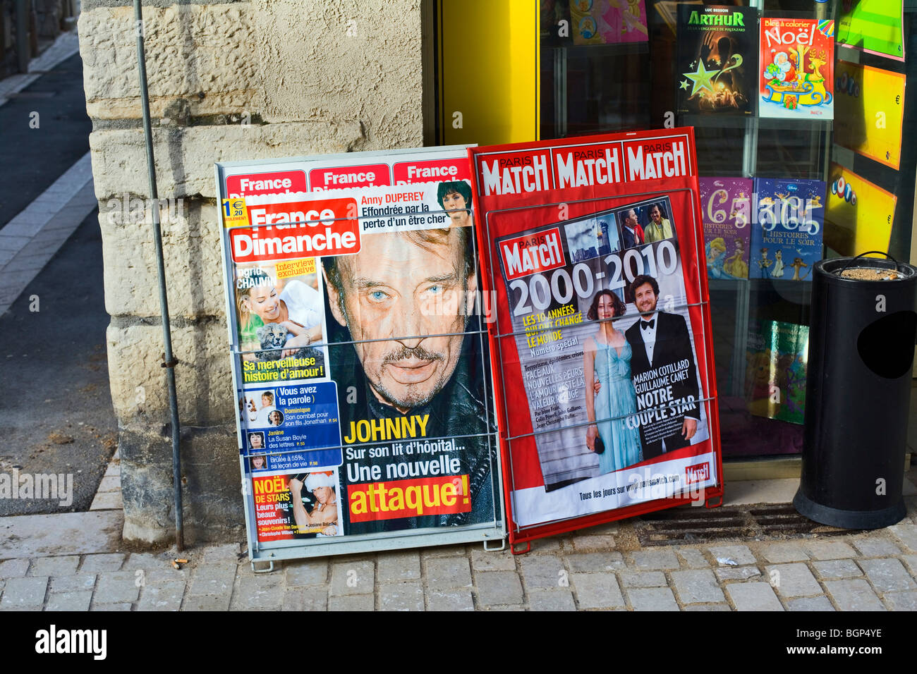 Magazine advertisement outside Tabac, Nuits Saint Georges, France, Europe - Stock Image