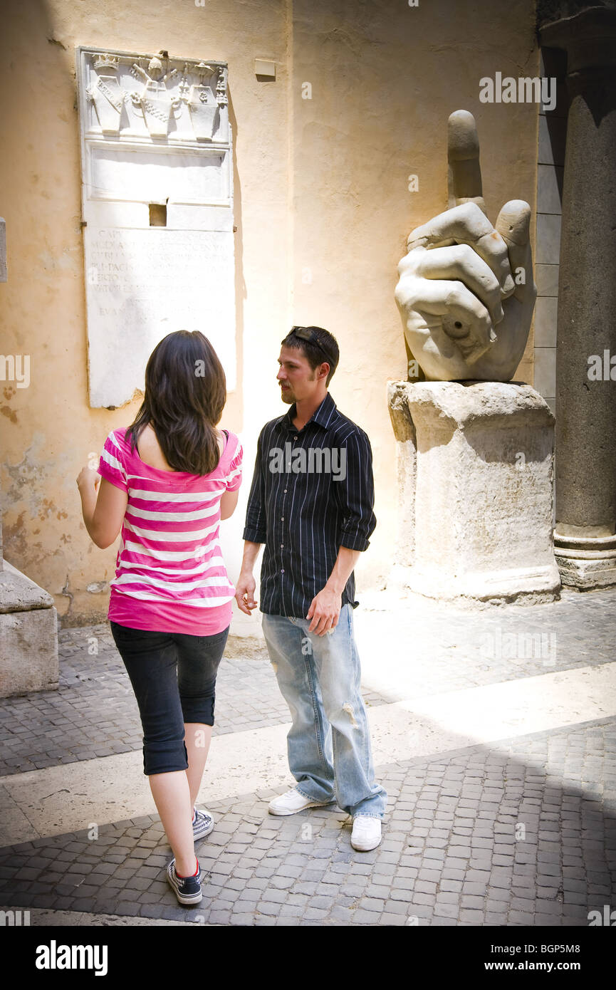 Young couple visiting Capitoline Museum - Stock Image