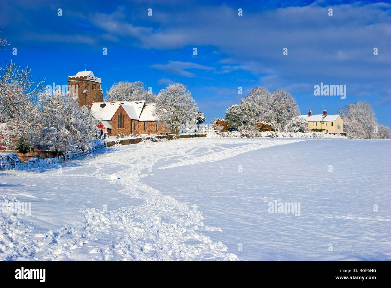 St Mary's Church in the snow, Thakeham, West Sussex England Great Britain UK 2010 - Stock Image