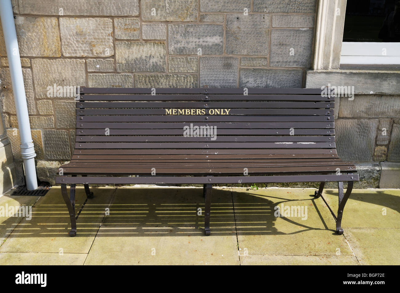 Bench marked 'members only' **EDITORIAL USE ONLY** - Stock Image