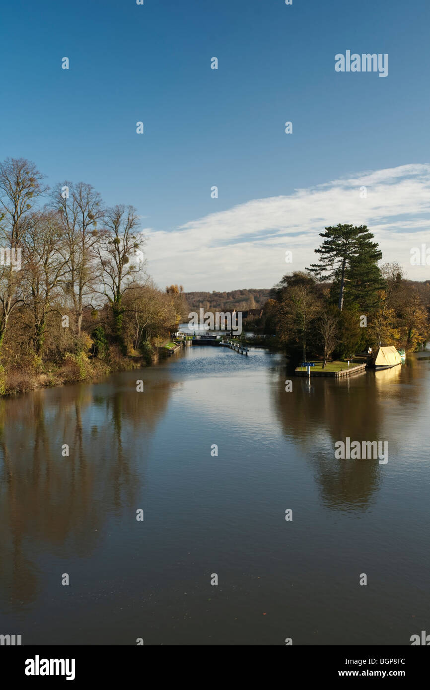 Temple Lock on the River Thames, Berkshire, UK Stock Photo