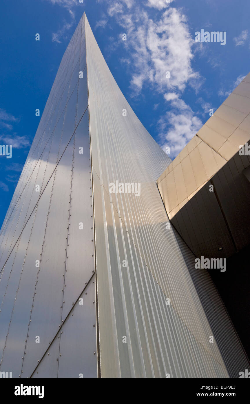 entrance of the Imperial War Museum North Salford Quays Greater Manchester Lancashire England GB UK EU Europe - Stock Image