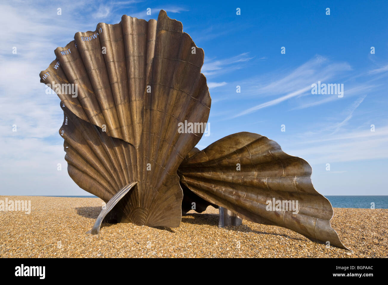 The Scallop at Aldeburgh Beach scallop shell steel sculpture by the artist Maggi Hambling Aldeburgh beach Suffolk - Stock Image