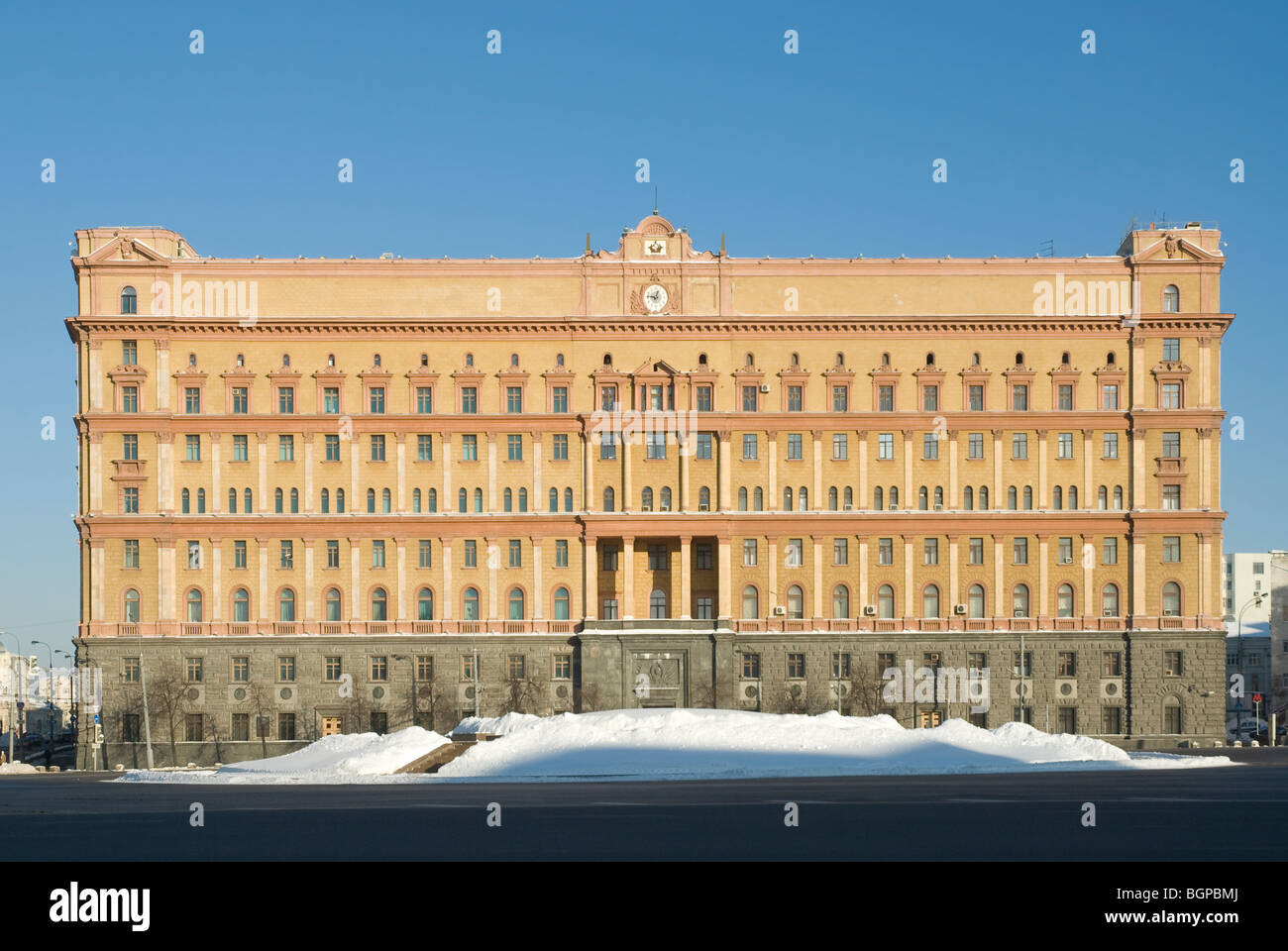 Building of the Russian Federal Security Service (FSB, old Soviet KGB) at Lubyanka Square, Moscow. - Stock Image