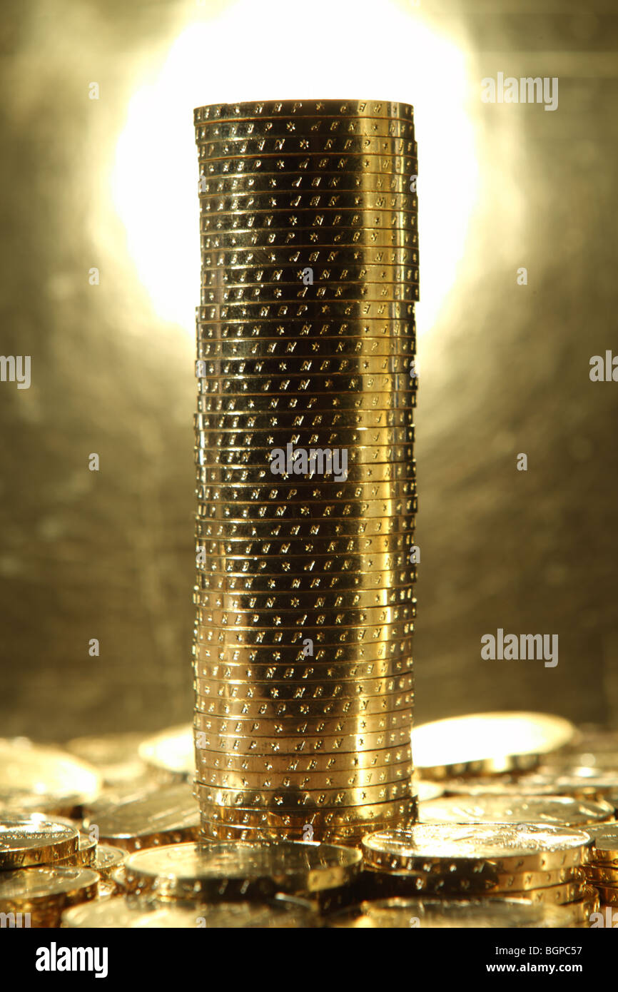 Gold numismatic coins from Poland - Stock Image