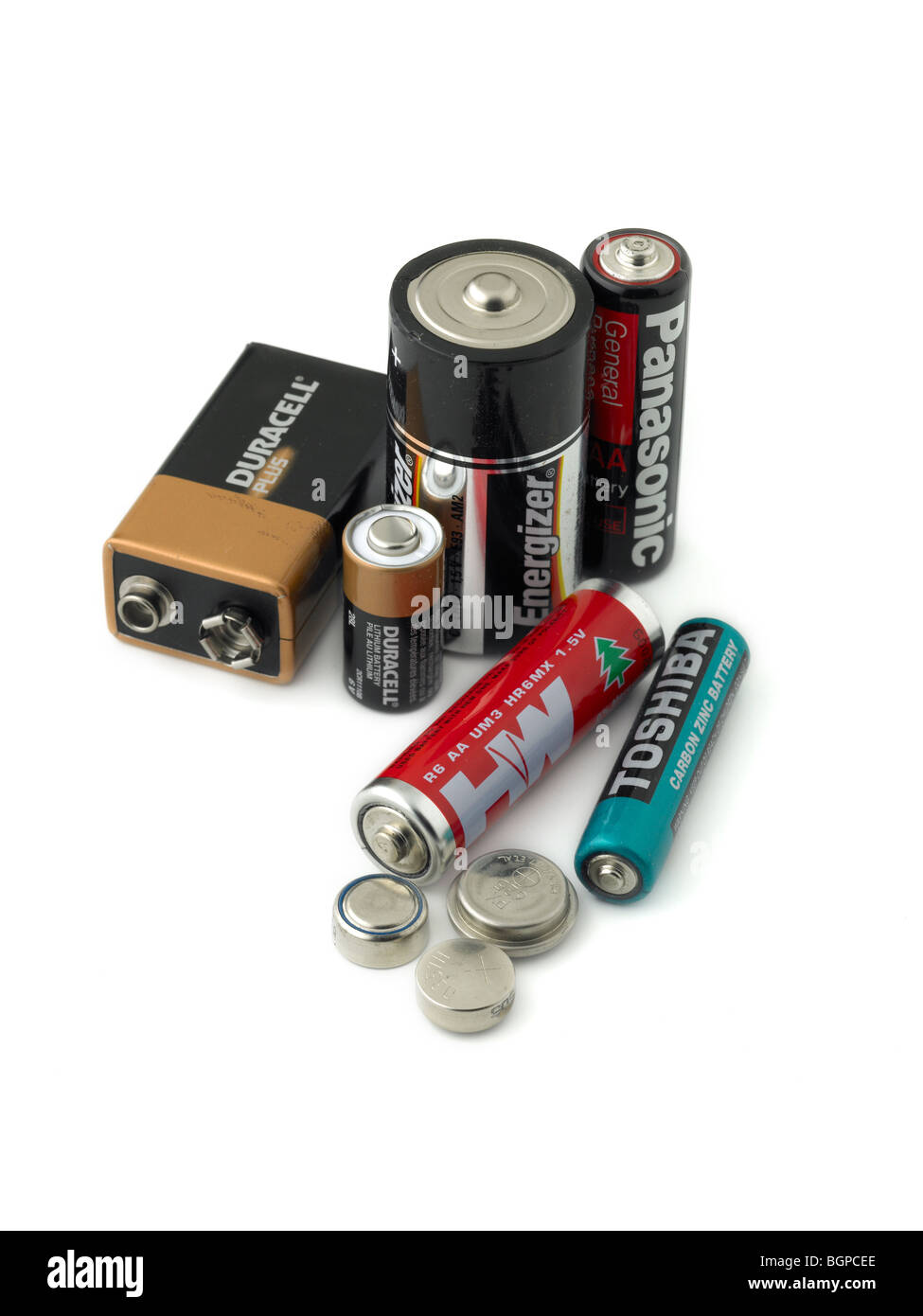old batteries, waste, disposal - Stock Image