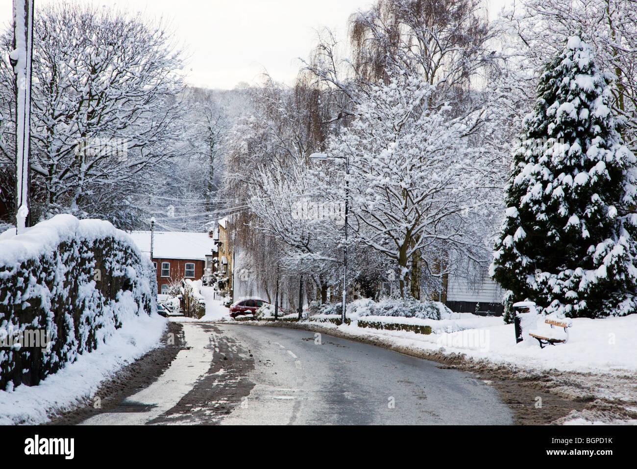 Deserted road after heavy snow Knaresborough North Yorkshire England - Stock Image