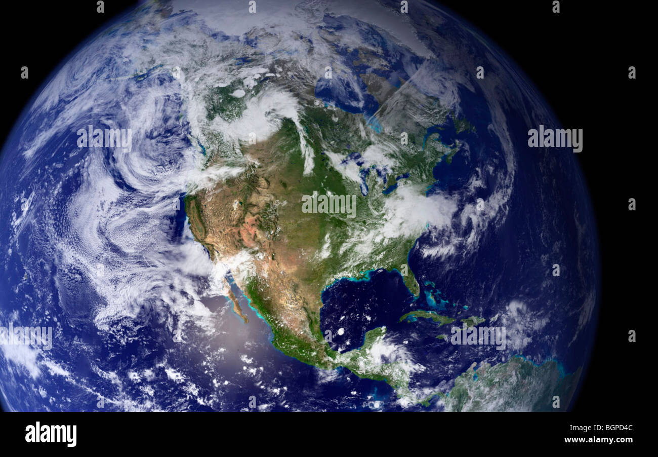 Earth photographed from a space capsule in outer space - Stock Image