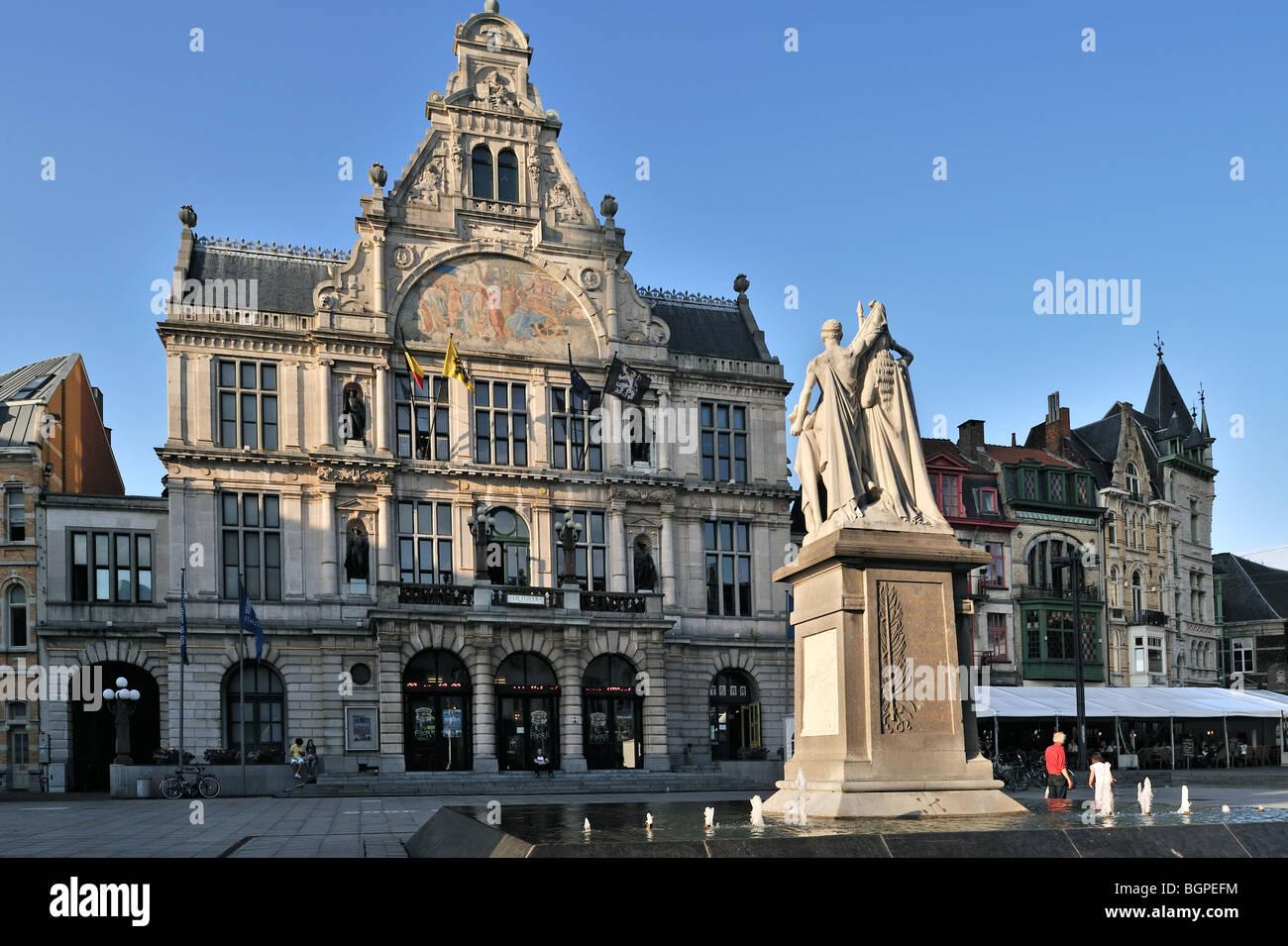 The theatre Koninklijke Nederlandse Schouwburg at the Saint-Bavo's square, Ghent, Belgium - Stock Image