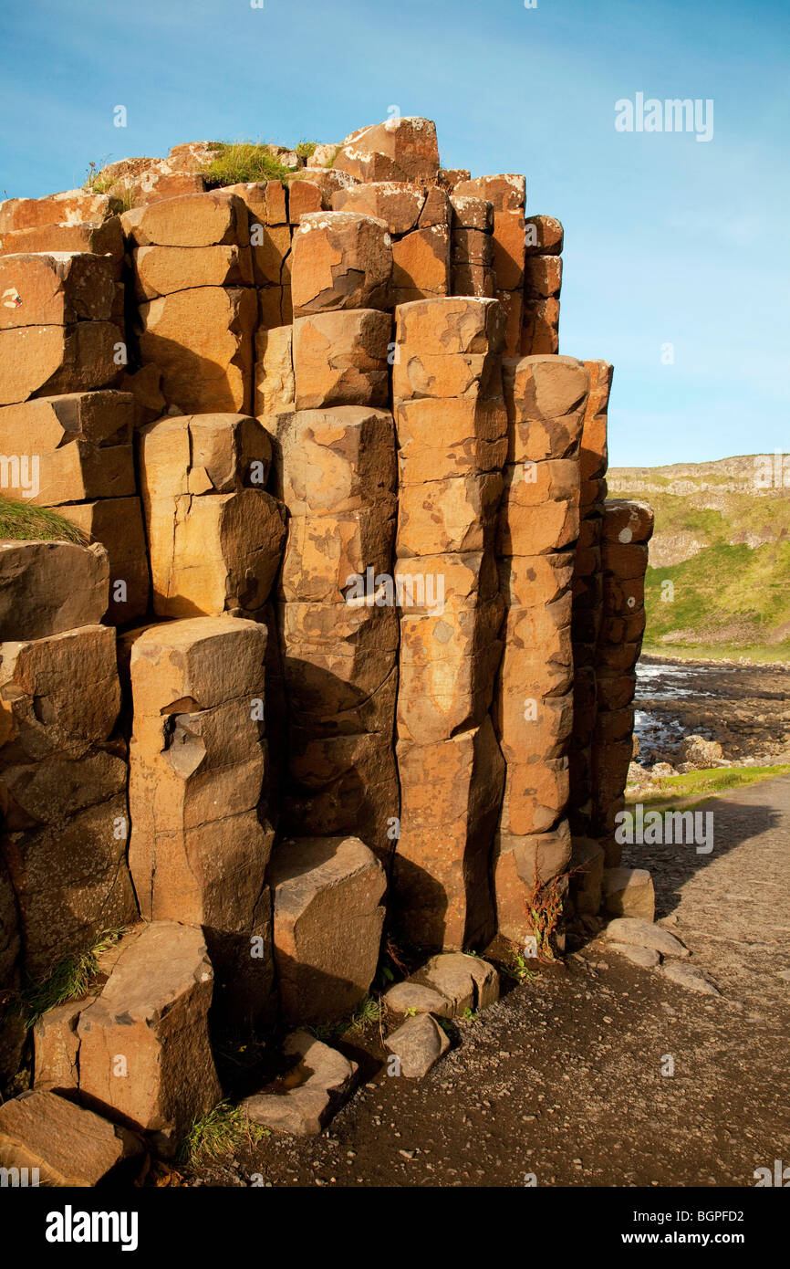 Red basaltic prisms Giant's Causeway Antrim Northern Ireland a natural phenomena and a world heritage site. - Stock Image