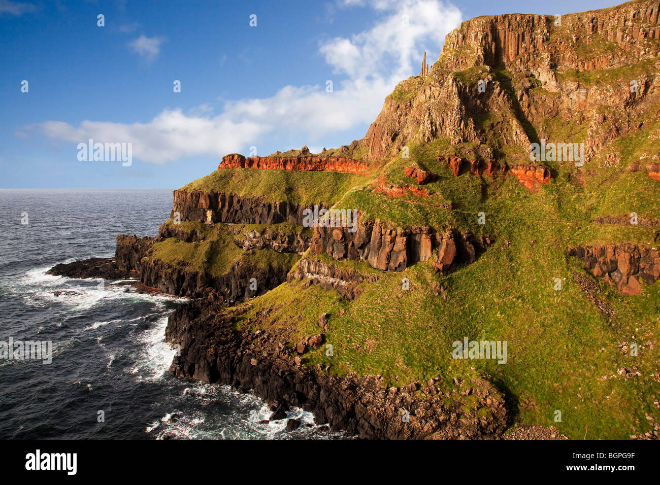 Port Reostan viewpoint at the Giant's Causeway Antrim Northern Ireland a natural phenomena and a world heritage - Stock Image