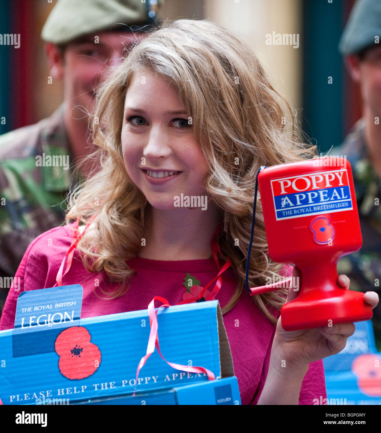 Classical musician Hayley Westenra and officer cadets launche  the Royal British Legion's recruitement drive - Stock Image